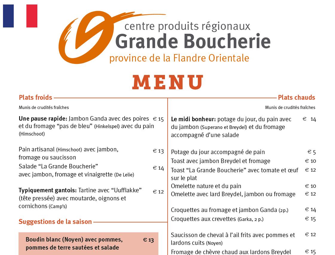 Afbeelding Franse menukaart